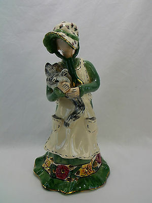 Blue Sky Clayworks Heather Goldminc. 2002 Girl Holding A Cat 7.5 Inches Tall