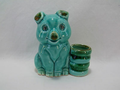 Vintage Pig Toothpick Holder 3 1/4 Inches Tall Blue Turquoise Japan
