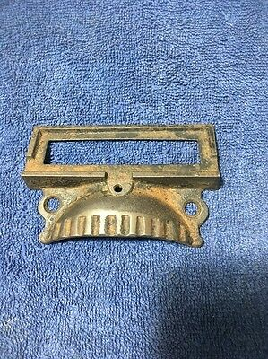 1 Victorian Cast Iron  Apothecary Label Slotcabinet Cupboard Drawer Bin Pull