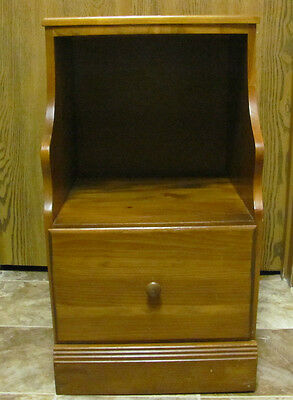 Vintage Wood Telephone Side Table With Drawer