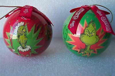 TWO Dr. Seuss The Gring Christmas Holiday round Ornament by Vandor 2001 Perfect