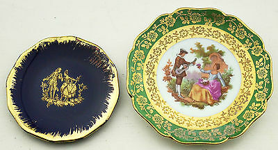 Vintage LIMOGES Pin Dish Dishes French Courting Couple Blue Navy China