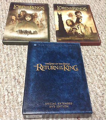 LORD OF THE RINGS Trilogy 3 DVD Lot Fellowship of the Ring THE TWO TOWERS