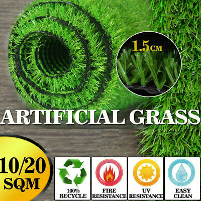 10-40 SQM Artificial Grass Synthetic Turf Plastic Plant Fake Lawn Flooring 15mm