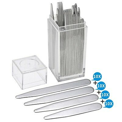 40 Stainless Steel Collar Stays Stiffeners 4 Size For Men's Dress Shirt With Box
