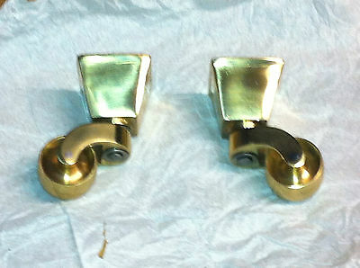 "4x Square Brass Cup Castors. 1 1/4"" cup. Replacement Vintage style BRASS castor"