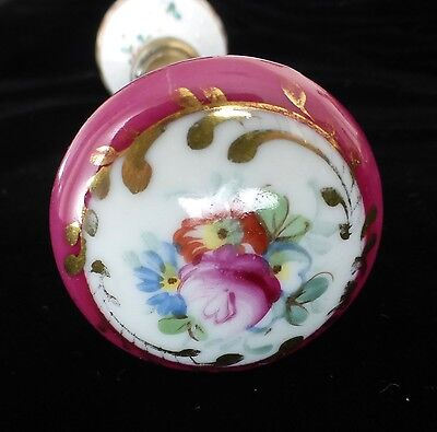 Beautiful Vintage French Porcelain Door Knobs - Floral