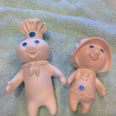 Vintage Set of 2 1971 Pillsbury Doughboy and Doughgirl Rubber dolls