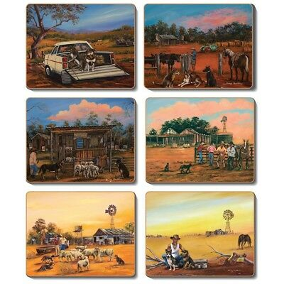 Kelpie Kapers - Set of 6 Placemats and Coasters - Cinnamon