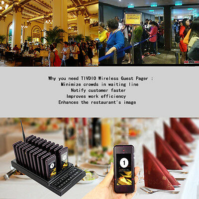 New Restaurant Coaster Pager Wireless Waiter Calling Paging System AU Free Ship