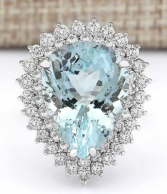 Women Pear Cut Aquamarine 925 Sterling Silver Wedding Engagement Ring Size 6-10