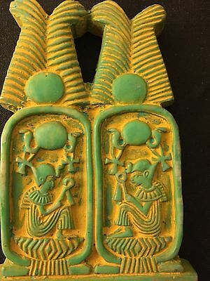 ANCIENT EGYPTIAN FAIENCE AMULET GREEN KARTOUCH 30th Dyn 380 BC