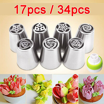 17/34x Russian Icing Piping Nozzles Cupcake Tips Pastry Tool Set Cake Decorating