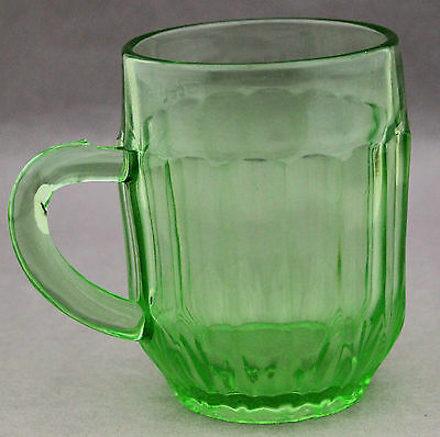 Green Depression Glass Mug Pillar Optic Anchor Hocking 30s 40s Vintage