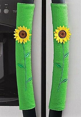 "BRAND NWT NIP - Decorative ""SUNFLOWER"" Appliance Handle COVERS - SET of 3"