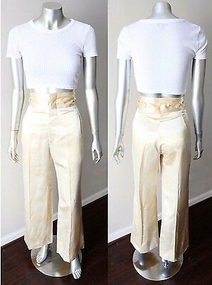 Bell Bottom Vintage 70s High Waist Satin Crease Trousers Cocktail Party Pants S