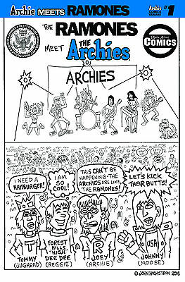 Archie Meets the Ramones!  John Holmstrom Black and White variant