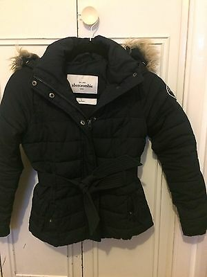 abercrombie and fitch Kids Girls Hooded Belted Puffer Coat Navy Blue