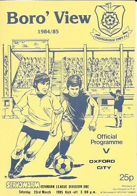 Farnborough Town V Oxford City  84/85.