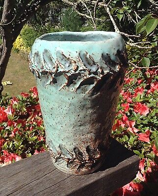 Fabulous Vintage Retro Art Pottery Vase Blue & Brown Signed & Dated Stoneware