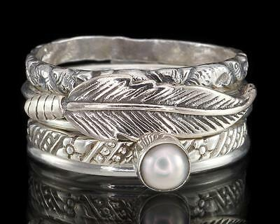 PEARL & FEATHER 925 STERLING SILVER 5 STACKING STACK RING SET - US Sz 8 (P½)