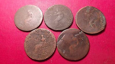 Great Britain, 5 x George III, Copper, Half Penny Coins.