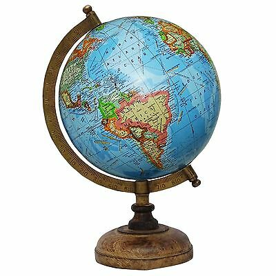 "13"" Decorative Big Rotating Globe World Geography Blue Ocean Earth Home Decor"