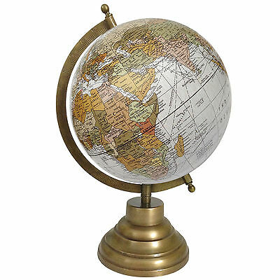 Decorative Big Rotating Globe World White Ocean Geography Earth Table Decor