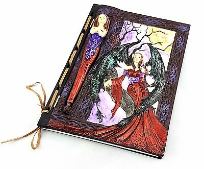 Fairy Notebook Journal Diary Note Book Witch Spell Hard Cover Inset Pen Ornament
