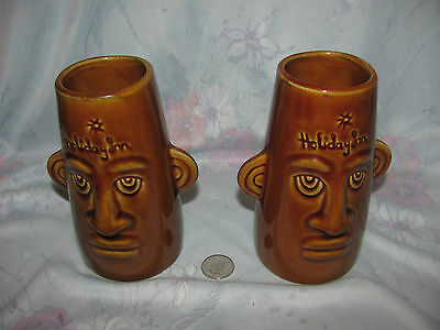 Lot of 2 Vintage Holiday Inn Hawaiian Tiki Mug Vases Sarawak