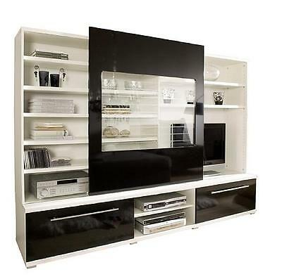 3362 wohnwand tv wand wohnzimmer schrank walnuss schwarz hochglanz glas eur 199 00 picclick de. Black Bedroom Furniture Sets. Home Design Ideas