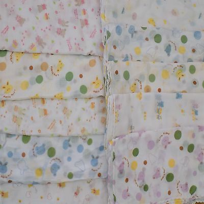 10 X Super Cute Baby Gauze Muslin Square Cloths ,100% Cotton,Nappy cake Small