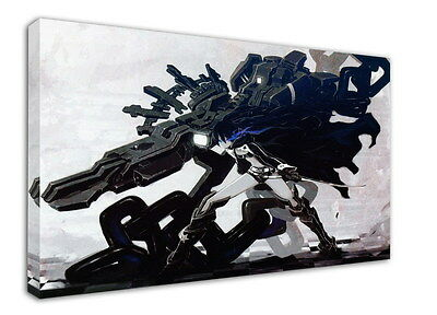 WK-C014 (513) Black Rock Shooter Canvas Wood Framed 36x24inch Poster