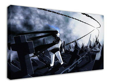 WK-C014 (526) Black Rock Shooter Canvas Wood Framed 36x24inch Poster