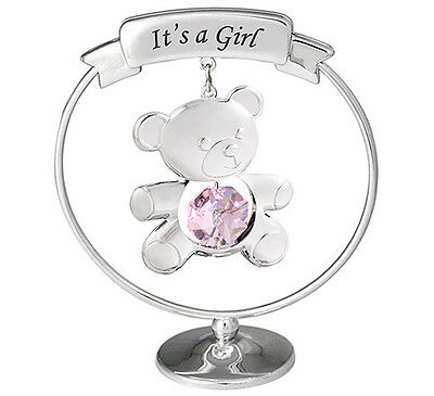 Crystocraft Teddy 'It's a Girl' Baby Mobile - Pink/Silver - Swarovski Ornament