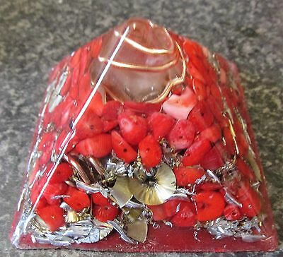 Orgonite/Orgone POWERFUL Red Coral Base Chakra  Peaceful/ Protective Pyramid