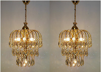 Shic Shabby Ceiling Light Fixture Vintage Brass Pair Rainbow Crystal Chandelier