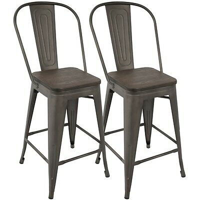 LumiSource Oregon Industrial High Back Counter Stool with Antique Frame and...