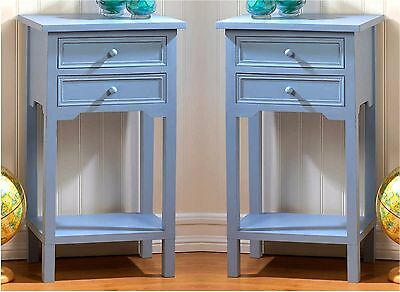 Set of 2 ** BLUE CAPE TOWN SIDE, END OR NIGHT TABLES * 2 DRAWERS SHELF * NIB