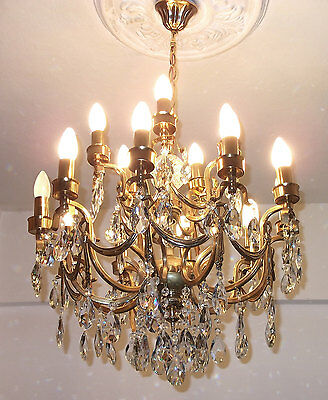 Antique Ceiling Light Crystal Chandelier French Art Nouveau Vintage Basket Brass