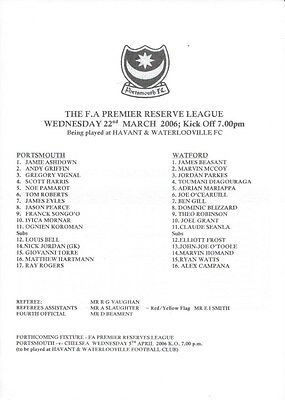 Portsmouth Reserves V Watford Reserves 05/06 - Team Sheet.