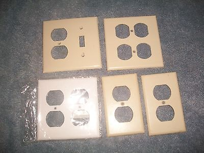 Vintage Smooth Ivory Outlet Covers (5) 4 Bakelite &1 Plastic Assorted 1White/New