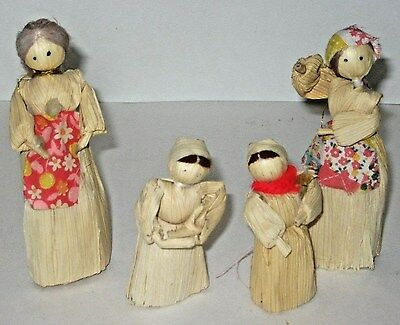 Corn Husk Folk Art Dolls Set of 4