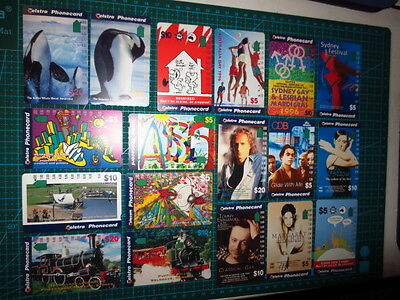 LOT 18x USED TELSTRA Paper Phonecards mixed, Antarctica,Sony Music, Trains,Gay