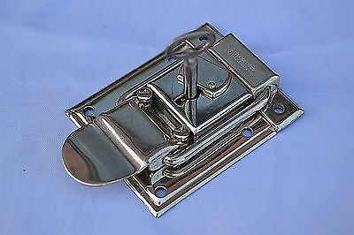 Vintage  Steamer Trunk Lock Antique Surface Mounted Chrome Box  Hardware