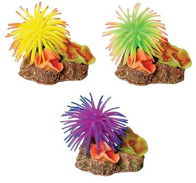 Coral on Rock with Silicone Anemone Decoration Ornament for Aquarium Fish Tank