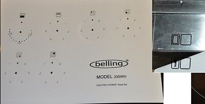 Belling 335WH electric oven facia. decal, stickers, clear vinyl may suit others.