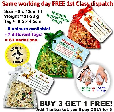 Magic Reindeer Food bag Christmas Eve Kids Activity Tradition Santa Dust oats