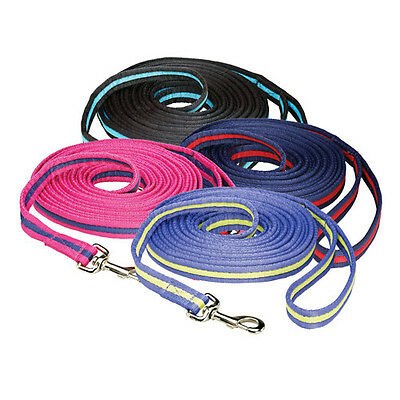 Hy Soft Webbing Lunge Rein - Fuchsia/Navy/White - 25' - Horse Lunge Lines