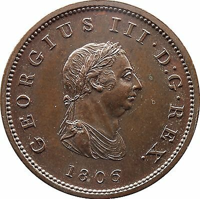 1806 Proof in Copper Half Penny George III  Early Milled (c.1662-1816)